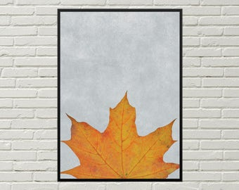MAPLE LEAF art print, autumn print, minimalist art, dried leaf wall art, seasonal wall art, leaf poster, fall art print, botanical decor