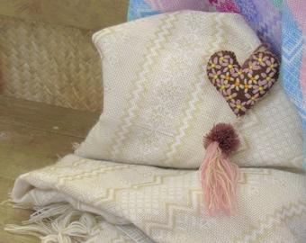 white mexican rebozo  / boho textile