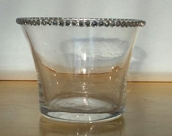 Handcrafted tealight holder with single row of rhinestones