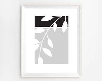 Nature Leaves Print, Black and White Minimalist Print, Geometric Wall Art, Leaf Silhouette, Modern Decor, Black and White Art, Leaf Print