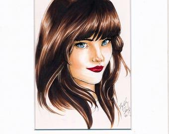 Blue Eyes Original Ink Artwork