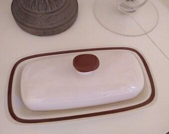 BUTTER DISH Vintage Japanese Stoneware