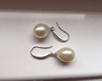 925 Sterling Silver Cultured Pearl Drop Earrings Wedding Bridal Bridesmaid oval