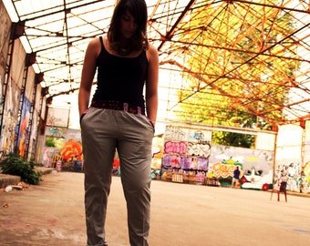 Slim gray yokes bazin pants size elastic