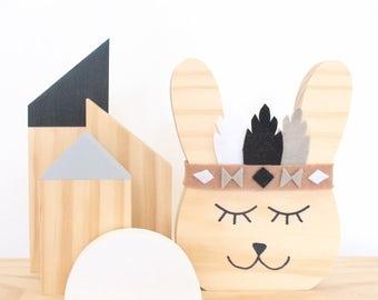 Chief Hoppi -  wooden decor/ timber/nursery/baby shower gift/ monochrome /baby boy/timber decor/childrens decor