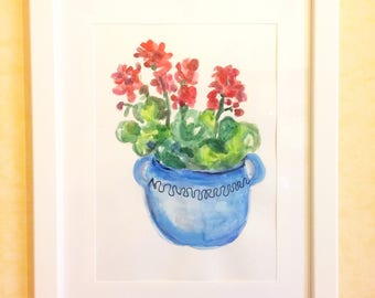 Blue Vase of Red Geraniums-drawing on cardboard in mixed media on cardboard-acrylic painting and Watercolor-Painting with wooden frame