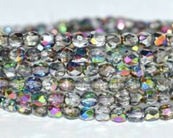 Stunning Czech glass round fire polished 4mm beads, Northern lights AB, Vitrail, half coat,  package of 50 beads, uk beads