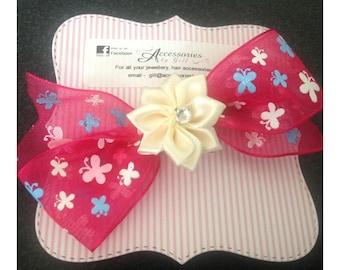 Pink organza bow