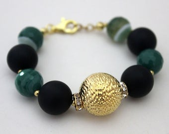 Bracelet Alida, Made in Italy, Agate, Onix Satin, Strass, Silver 925, Plated Gold