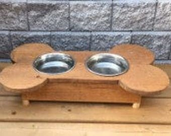 Bone Shaped Dog Dish Stand