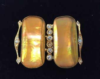Topaz Colored Ladies Belt Buckle, Large, Art Deco