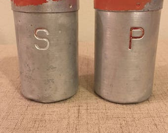 Vintage Aluminum Salt and Pepper Shakers with Red Top