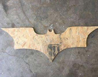 Wooden cutout of Batman