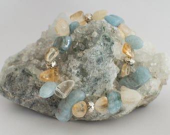 Citrine strand bracelet / aquamarine