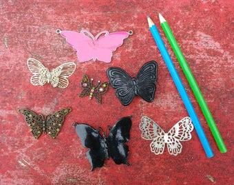 job lot destash of 7 butterfly pendants...broken butterfly jewellery for use in arts and crafts...metal butterfly jewellery