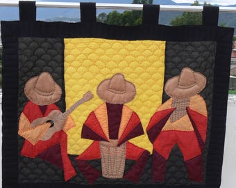 Hanging Quilt Art- Andes Music Theme - Hand quilted, Machine sewn