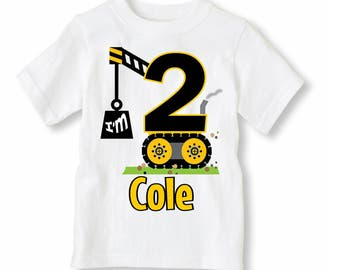NEW Construction Birthday Shirt - Boy Birthday Shirt Personalized With Name and Age