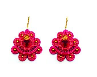 Iris Pink Handmade Soutache Earrings