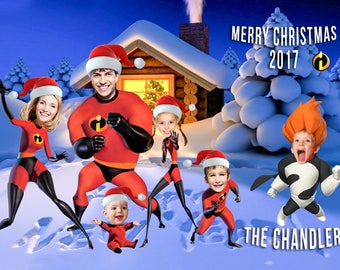 The Incredibles Christmas Card, Photo Christmas Card - SUPERHERO - Holiday Cards - with YOUR PHOTOS - Incredibles Holiday, Caricature Card