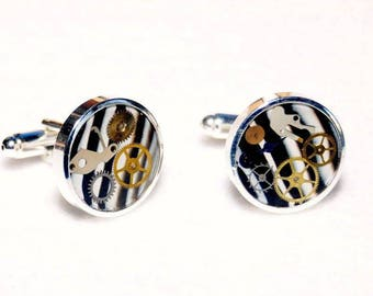 Zebra – Polymer Clay cufflinks finished using silver plated bases and steampunk inspired genuine watch gears