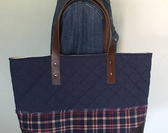 Navy and plaid flannel quilted tote