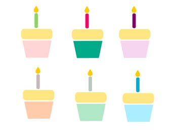 Cupcake clipart/ Birthday clip art/Cupcake with candle