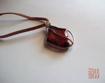 Banded Agate leather  pendant Free Shipping Worldwide