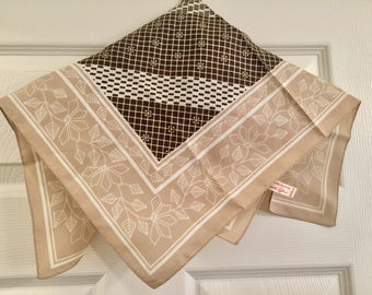 Scarf Made In Italy - Vintage - Brown Tan White - RN 24409
