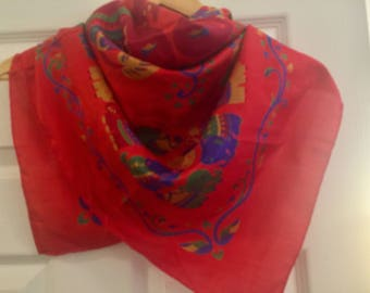Large Thai Silk Scarf - Red - Elephants - Made In Thailand