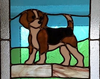 Stained Glass Window Beagle Dog