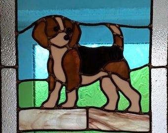 Stained Glass Window Beagle Dog