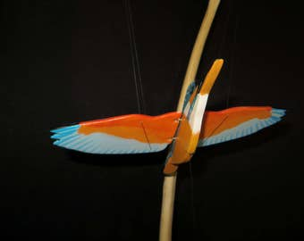 "Mobile of painted wood bird hand, ""Kingfisher"""