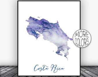 Costa Rica Print, Watercolor Print, Costa Rica Map Office Wall Decor, Office Wall Art, Living Room Art, Map Decor, Map Wall Art ArtPrintsZoe