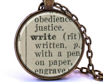 Write Dictionary Pendant Necklace, Gift for Writer, Writing Gift, Graduation Gift