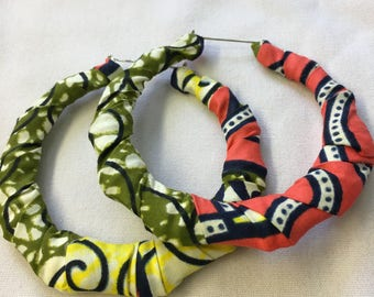 African Ankara wrapped hoop earrings