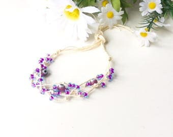Purple Bohemian Evil Eye Bracelet