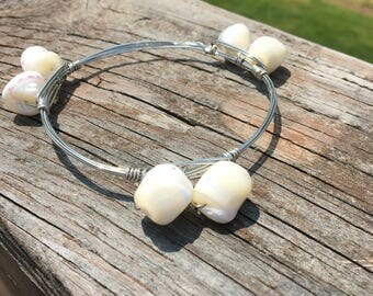 White stone bead bangle bracelet