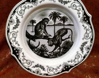 Beautiful Ornate Black and White Monkey Plate