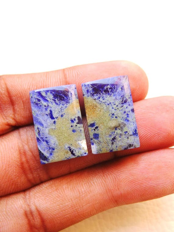 1 Pair Natural Sodalite Smooth Baguette Cabochons Sodalite