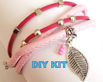 DIY KIT bracelet boho chic gypsie Bohemian surfer made crafts handmade Tibetan silver do it yourself beading cord to choose