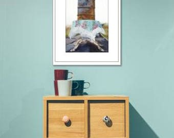 Contemporary, Fine art Print, Rural, Still life, Original Art, Modern, Simple, Giclee, oil barrel, table cloth, floral print