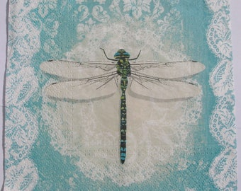Decoupage Paper Napkins x4 Dragonfly for Decoupage Craft Scrapbooking 019