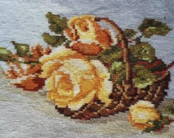 Yellow roses handmade needlepoint embroidery gobelin