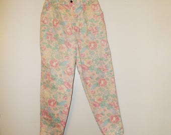 Women's Jeans / Floral Jeans / Hunt Club Jeans / Made in USA / Size 14