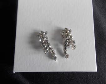 Vintage Kramer Rhinestone Dangle Clip On Earrings