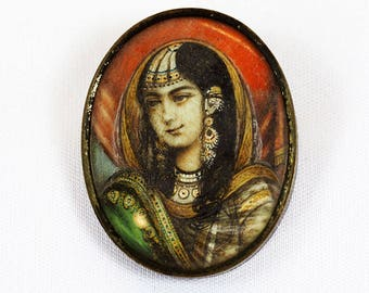 Antique Indian Portrait Miniature Silver Brooch
