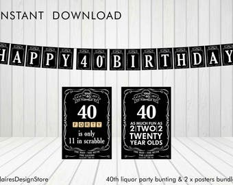 40th Liquor Party Bunting and Posters *Instant Download*