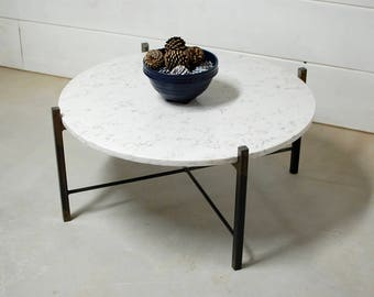 Round White Marble Coffee Table, Round Coffee Table, Industrial Furniture,  Living Room Furniture