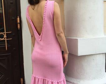 Summer pink dress open back dress pink party dress midi dress women dress sleeveless sexy knit summer bridesmaid cocktail cotton knitwear