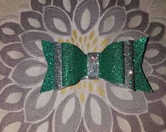 Fine glitter triple layer vinyl bow